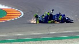The Doctor' crashed at Turn 2 at the end of FP3, meaning he'll have to take part in Q1